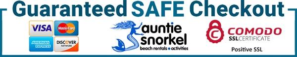 Guaranteed SAFE Checkout - Credit Debit Cards - Auntie Snorkel Beach Rental Activities - Comodo SSL Certificate Positive SSL