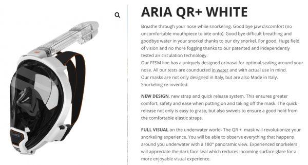 ARIA full face snorkel mask description