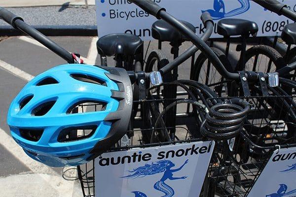 kihei bike rental rack with helmet