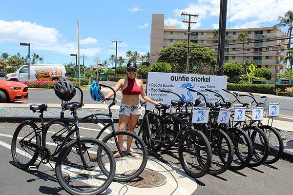rental bike rack girl